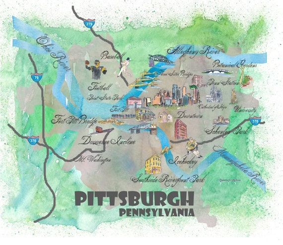 Illustrated Pittsburgh Map on pittsburgh art map, pittsburgh black map, pittsburgh simple map, pittsburgh interactive map, pittsburgh aviation map, pittsburgh illustration, pittsburgh history, pittsburgh photography,