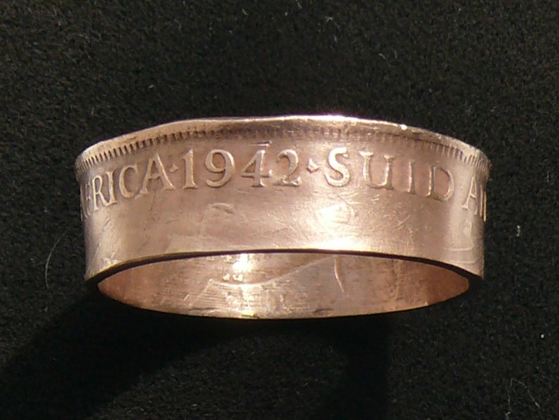 Ring Size 9 12 and Double Sided 1942 South Africa Half Penny Coin Ring