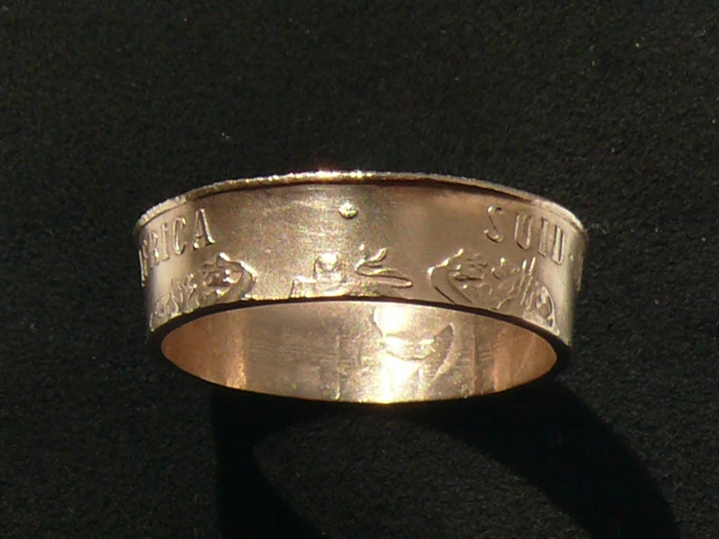 Bronze Coin Ring 1988 South Africa 2 Cents Ring Size 7 12 and Double Sided