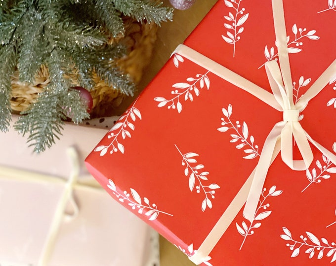 red holly branch wrapping paper - wrapping paper - christmas wrap - gift wrap - red - modern - christmas wrapping paper