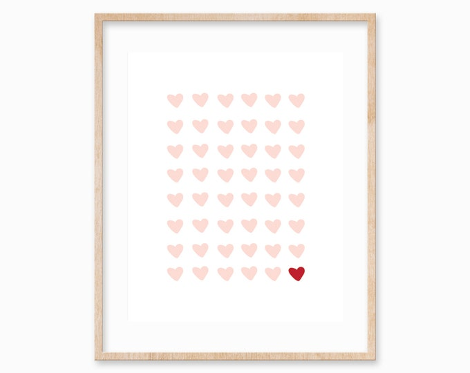 hearts print- pink valentine's day print, valentine printable, art print, girls room decor, pink nursery wall art, galentines decor