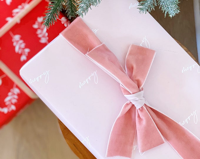 pink merry wrapping paper - wrapping paper - christmas wrap - gift wrap - pink - modern - christmas wrapping paper