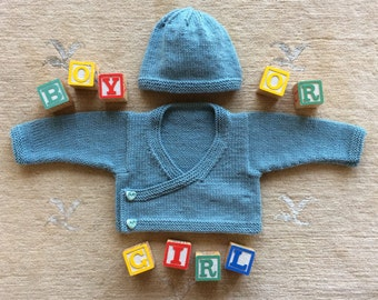 Sweater and Hat Set, hand knit, sea foam blue,  baby, boy, girl, 6 months, front wrap, cardigan, hearts