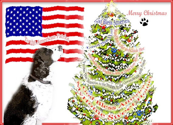 Patriotic Christmas.Springer Spaniel American Patriotic Christmas Cards