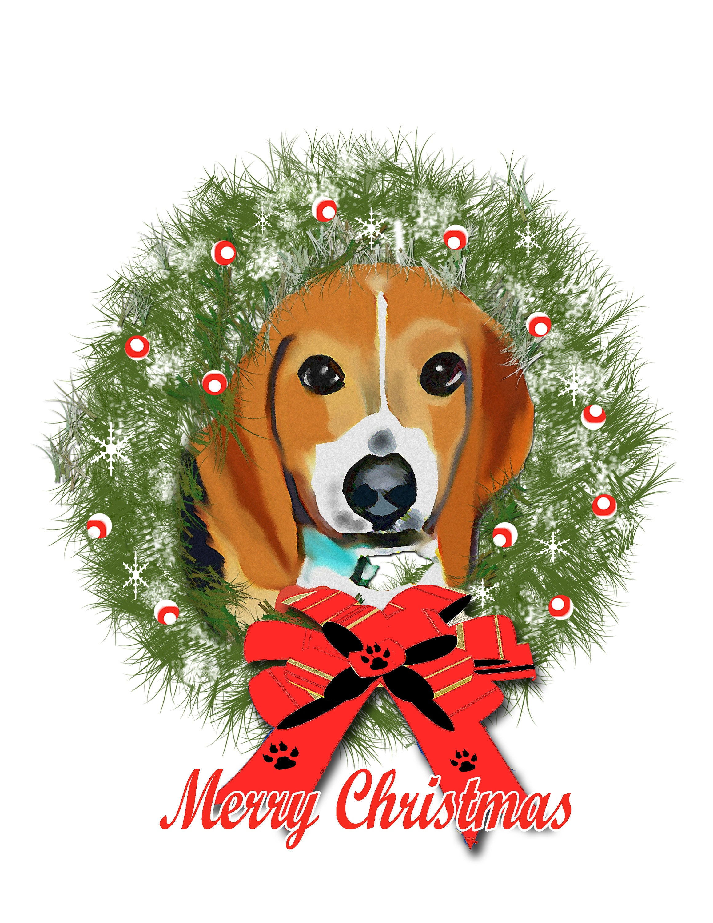 Beagle Christmas Wreath Blank Greeting Cards | Etsy