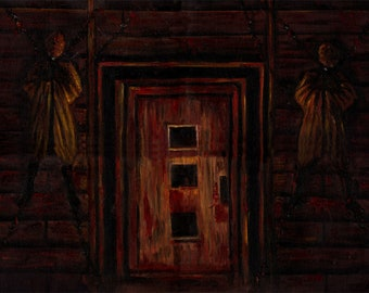 """Silent Hill 1 Painting of a Door-inspired oil painting 18x24"""""""