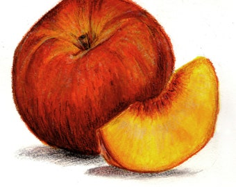 Print of Peaches mixed media drawing