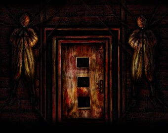 Silent Hill inspired Painting of a Door print of original oil painting