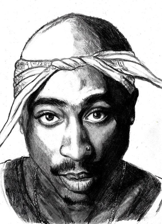 Tupac Shakur Print From Original Pencil Drawing 2pac Etsy