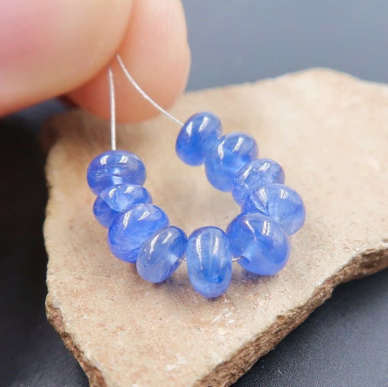4.9-5.4mm Beads 8.9cts 1.20 inches 10 New Rich Large Sizes Gem Blue Sapphire AAAA