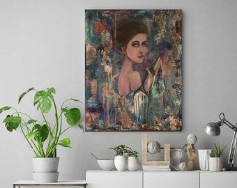 ORIGINAL ART: BLUE painting of woman holding shark 30 x 24 acrylic on canvas // mixed media, glitter, ocean // ink, starfish, drips, texture