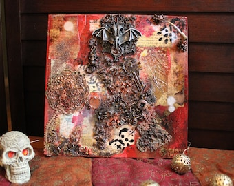 Steampunk Abstract Artwork   Darkwing   Red with metal collage, skull, paper on wood panel   Mixed Media Artwork   Small Art