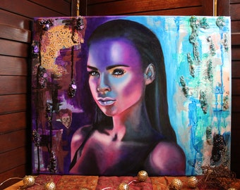 Portrait in Blue and Purple    Oil Painting of Colorful Woman's face    Mixed Media Portrait of Woman with Colors of Blue and Purple