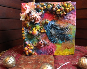 Colorful Abstract Tiny Painting    Summer 6x6 Painting with Feathers and Beads    Blue Pink and Yellow Cute Small Artwork    Fun & Happy
