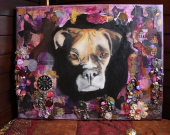 CUSTOM Pet Portrait Oil Paint and Mixed Media from your personal photograph    Original Painting of your cat dog horse pet    Pet Painting