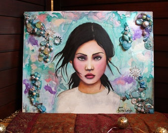 Portrait with Teal and Lavender   Oil Painting of Girl with mixed media collage background   Portrait of Female with black hair  