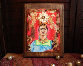 Portrait of Frida Kahlo   Small Painting of Mexican Painter Frida Kahlo   Red with Flowers and Gold Foil Frida Mini Painting on Wood Frame
