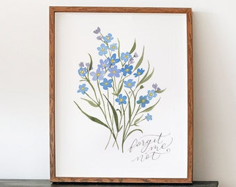 Forget Me Not Flowers Art Print - Blue Floral Calligraphy grief grieving miscarriage remembrance artwork pregnancy loss infertility IVF
