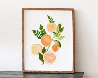 Oranges and Greenery Citrus Fine Art Print - Orange Artwork modern watercolor illustration fruit green boho bohemian kitchen home decor