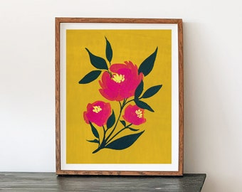 Folk Flower Watercolor Painting - Pink Peony