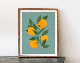 Folk Flower Watercolor Painting - Oranges