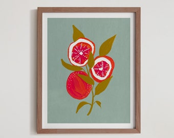 Ruby Red Grapefruit Citrus Fine Art Print - Oranges Artwork modern watercolor illustration fruit hot pink yellow orange green boho