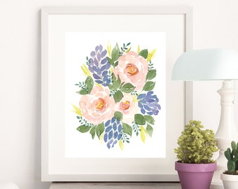Koko Loko Watercolor Flower Floral Art Print - 8x10 home decor wall artwork rose Hyacinth garden pink office feminine loose modern green