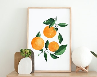 Oranges Citrus Fine Art Print - Orange Artwork modern watercolor illustration fruit yellow orange green boho home decor
