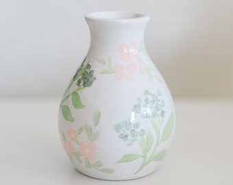 Spring Collection: Blue Hydrangea with Pink Flowers Bud Vase