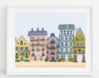 Colorful Houses - City Street Art Print Painting - Paris Europe Charming Travel Artwork Wall Decor
