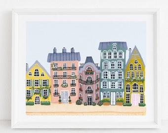 Colorful Houses - City Street Art Print Painting - Paris Europe Charming Travel Artwork Wall Decor