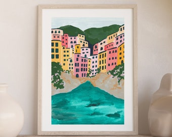 Cinque Terre Italian Riviera Coast Colorful City Houses - Art Print Painting - Italy Amalfi Europe Charming Travel Artwork Wall Decor