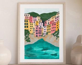 Cinque Terre Italian Riviera Coast Colorful City Houses - Art Print Painting - Italy Amalfi Europe Charming Travel Artwork Wall Decor