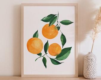 Oranges Citrus Fine Art Print - Orange Artwork modern watercolor illustration fruit yellow orange green boho home decor