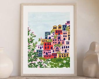 Positano Italy Amalfi Coast Colorful City Houses - City Street Art Print Painting - Italian Europe Charming Travel Artwork Wall Decor