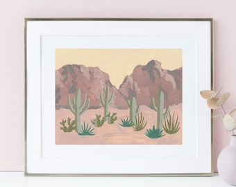 Arizona Red Rock Desert Landscape Art Print - Saguaro Cactus Painting boho bohemian acrylic gouache watercolor muted neutral color scheme
