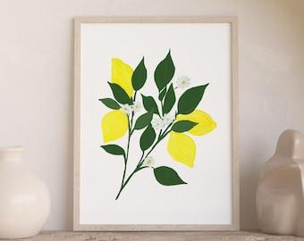 Lemons with White Blossoms Watercolor Art Print - 8x10 home decor wall artwork office trendy lemons greenery kitchen office botanical garden
