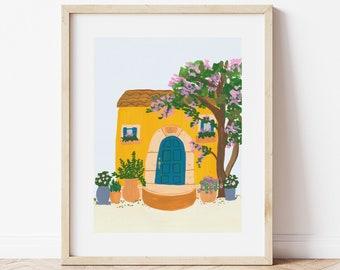 French Riviera Italy Amalfi Coast Colorful City House Art Print Painting - Italian Mediterranean Europe Charming Travel Artwork Wall Decor