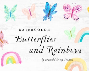 Butterflies and Rainbows Watercolor Clipart Clip Art - Personal Commercial Use butterfly rainbow birthday party magical colorful