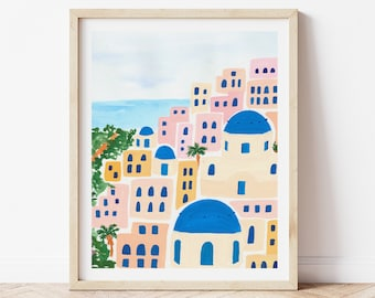 Santorini Greece Mediterranean Coast Colorful City Houses - City Street Art Print Painting Italian Europe Charming Travel Artwork Wall Decor