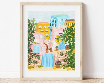 Sorrento Italy with Lemon Trees and Colorful Houses - City Street Art Print Painting - Italian Europe Charming Travel Artwork Wall Decor