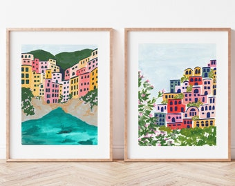 Set of 2 Italy Art Prints -Positano Amalfi Coast Cinque Terre Italian Riviera Colorful City Houses Painting Europe Travel Artwork Wall Decor