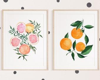 Set of 2 Oranges and Grapefruit Citrus Fine Art Prints - Orange Artwork modern watercolor illustration fruit yellow orange boho home decor