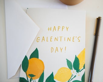 Happy Galentine's Day Card - Citrus Lemons Oranges Greeting Card - Funny Valentine's Day Card Leslie Knope Parks and Recreation Girlfriend