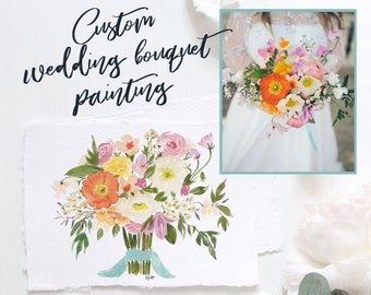 Wedding Bouquet Bespoke Watercolor Painting