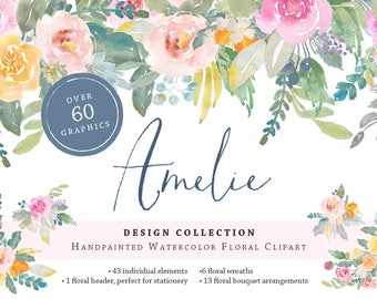 Amelie Hand Painted Flower Watercolor Clipart Personal Commercial Use peony rose lemon kumquat floral wreath Paris garden pink yellow soft