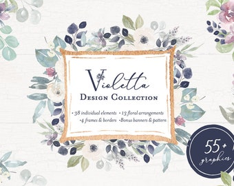 Violetta Hand Painted Flower Watercolor Clipart Personal Commercial Use violet indigo purple peony rose floral anemone garden yellow soft