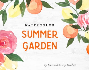 Summer Garden Citrus Watercolor Clipart - Personal Commercial Use garden rose flowers floral pink yellow oranges lemons greenery