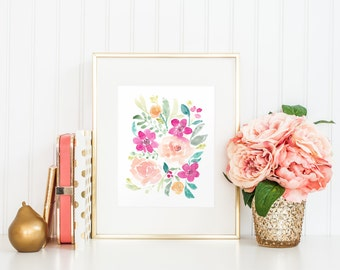 Watercolor Flower Floral Art Print - 8x10 home decor wall artwork peony peonies rose garden pink fuchsia office nursery feminine whimsy