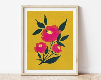 Pink Peony Folk Art Painting - botanical floral vintage modern style gold mustard orange wall art retro vibe hot pink watercolor 8x10
